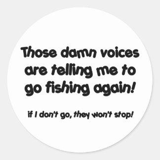 Fishing voices round sticker