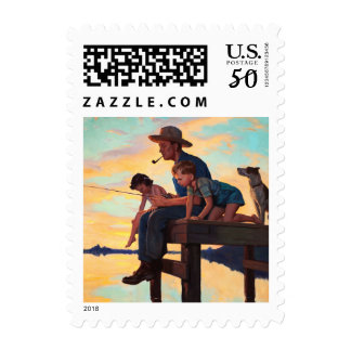 Fishing with Dad. Father's Day Vintage Art Stamps
