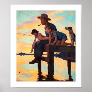 Fishing with Dad. Vintage Art Print