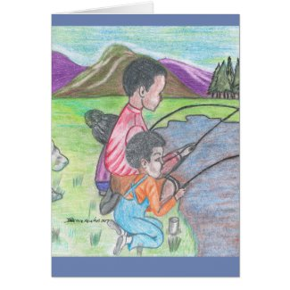 Fishing with Daddy- Greeting Card