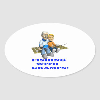 Fishing With Gramps Oval Sticker