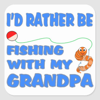 Fishing With Grandpa (Blue) Square Sticker