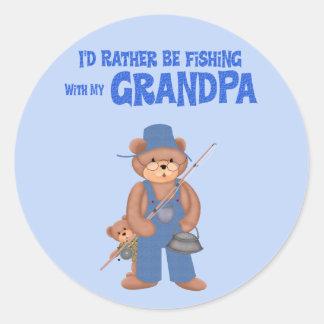 Fishing with Grandpa Classic Round Sticker