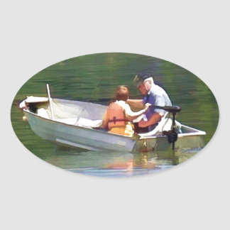 Fishing With Grandpa digital watercolor simulation Oval Sticker