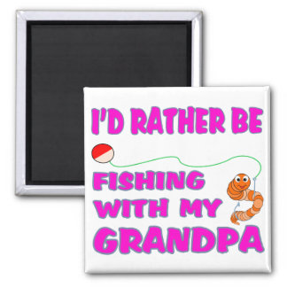 Fishing  With Grandpa (in Pink) Fridge Magnet