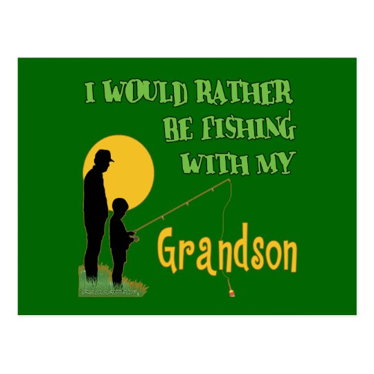 Fishing With Grandson Postcard