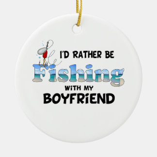 Fishing With My Boyfriend Double-Sided Ceramic Round Christmas Ornament