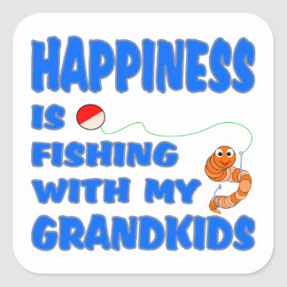 Fishing With My Grandkids Square Sticker