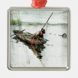 Fishing with Nets 1905 Square Metal Christmas Ornament