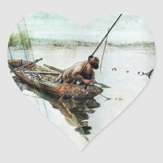 Fishing with Nets 1905 Heart Sticker