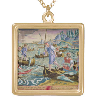 Fishing with Nets and Tridents in the Bay of Naple Gold Plated Necklace