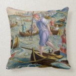Fishing with Nets and Tridents in the Bay of Naple Throw Pillow