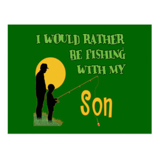 Fishing With Son Postcard