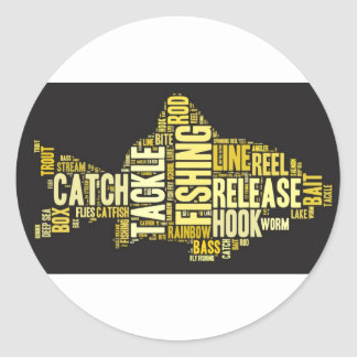 Fishing Word Cloud Classic Round Sticker