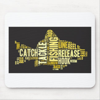 Fishing Word Cloud Mouse Pad
