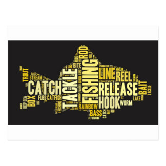 Fishing Word Cloud Post Cards
