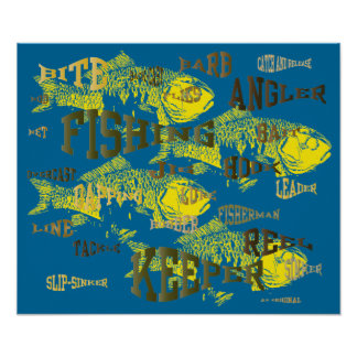 fishing words artwork posters
