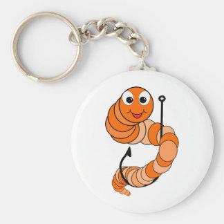 Fishing Worm Basic Round Button Keychain
