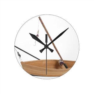 FishingPoleSittingInWoodenBoat050314.png Wall Clock