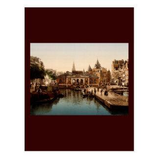 Fishmarket and bourse  Amsterdam Postcard