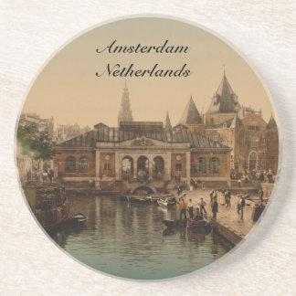 Fishmarket viejo y la bolsa, Amsterdam, Países Baj Posavaso Para Bebida