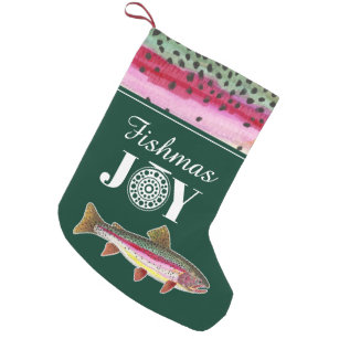 fishmas joy rainbow trout fly fishing small christmas stocking