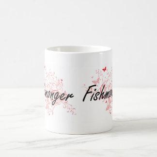 Fishmonger Artistic Job Design with Butterflies Coffee Mug