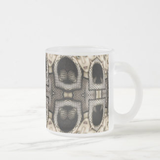 Fishnet Faces Frosted Glass Coffee Mug