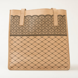 fishnet thigh-high with scalloped garter pattern tote