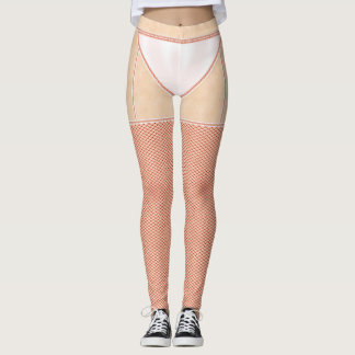 Fishnets Stockings Red and White Knickers Leggings