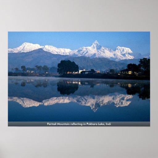Fishtail Mountain reflecting in Pokhara Lake, Indi Posters
