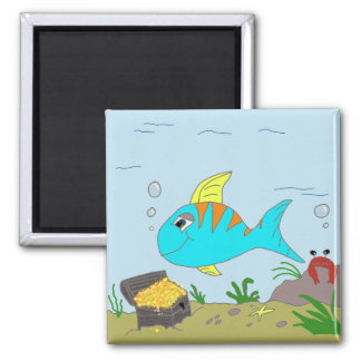 fishy 2 inch square magnet
