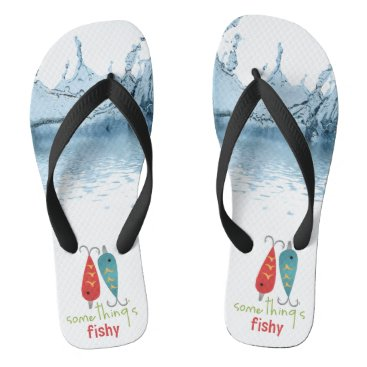 Beach Themed Fishy -  Adult, Wide Straps Flip Flops