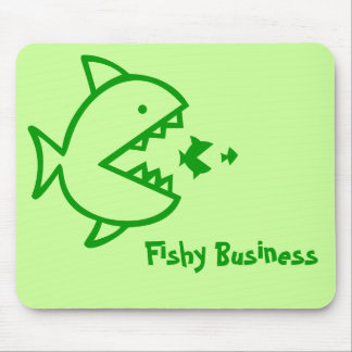 Fishy Business - Green Mouse Pad