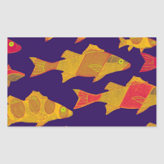 FISHY FISH 3 RECTANGULAR STICKER