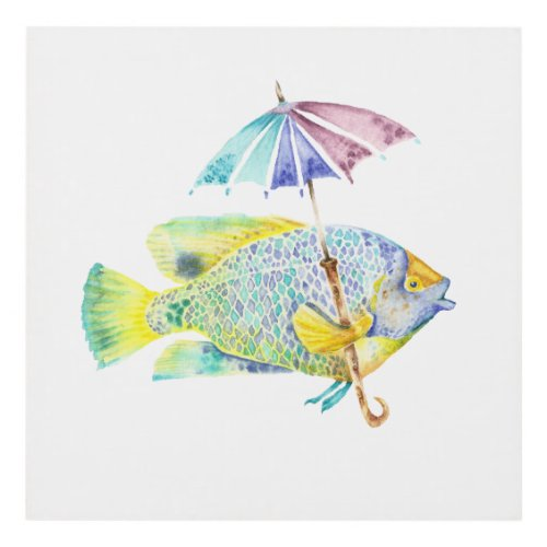 Fishy Fish with Umbrella Panel Wall Art
