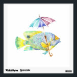 """Fishy Fish with Umbrella Wall Decal<br><div class=""""desc"""">Watercolor angel fish</div>"""