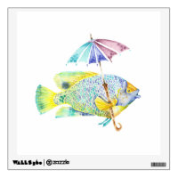Fishy Fish with Umbrella Wall Decal