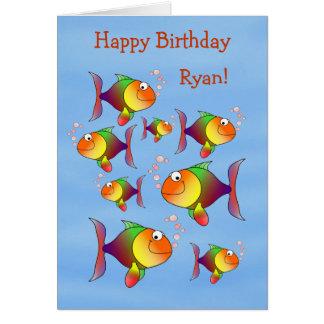 Fishy Fun Kids Personalized Birthday Card