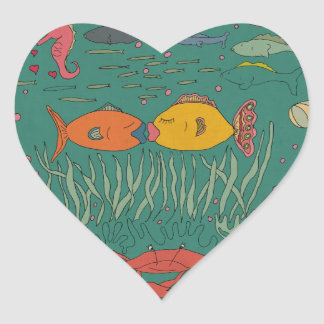Fishy Kisses Heart shaped stickers