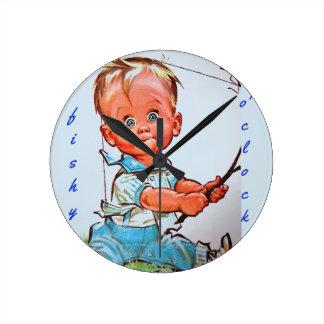 """Fishy o'clock"" Round Clock"