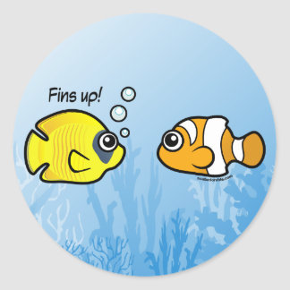 Fishy Robbery: Fins up! Classic Round Sticker