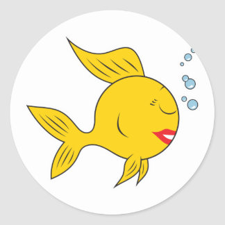 Fishy Smiley Face Classic Round Sticker