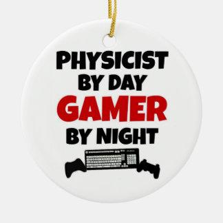 Físico por videojugador del día por noche adorno navideño redondo de cerámica