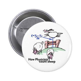 Físicos que cuentan ovejas pin redondo de 2 pulgadas