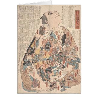 Fisiología humana como kabuki - notecard tarjeta pequeña