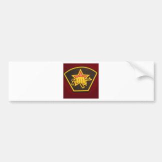 fist and red star car bumper sticker