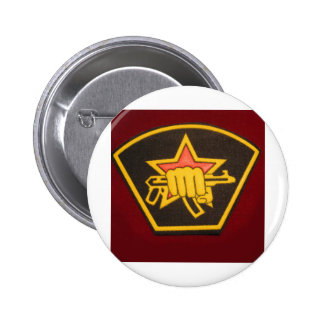 fist and red star pinback button