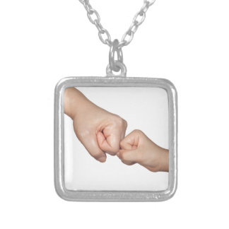 Fist bump with a kid square pendant necklace