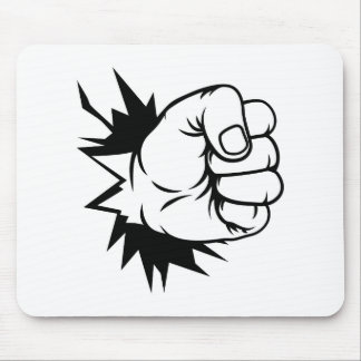 Fist Hand Punching Through Wall Mouse Pad